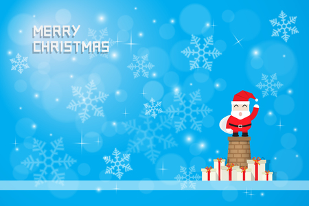 snow flake: snow flake and santaclaus with gift boxes on blue background Illustration
