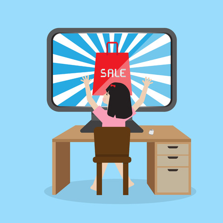 promotion girl: girl sitting infront desktop glad to see sale online sale promotion Illustration