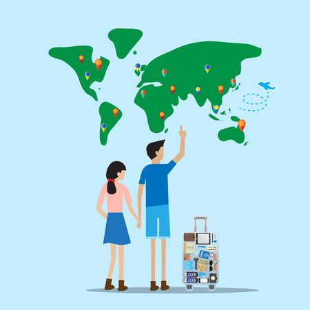 family and friends: traveler stand in front of world map with luggage select destination to go