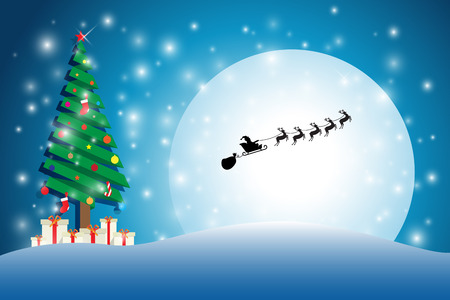 merry chrismas: snow on Christmas tree with silhouette santa cluas ride reindeer sleigh blue background