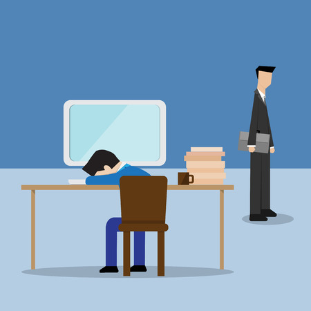 unfortunate: boss look at employee take a nap in office