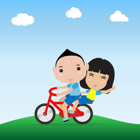 charactor: boy and girl ride bicycle in happy face Illustration