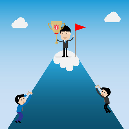 the winner businessman hold trophy in hand on top of the mountain Illustration