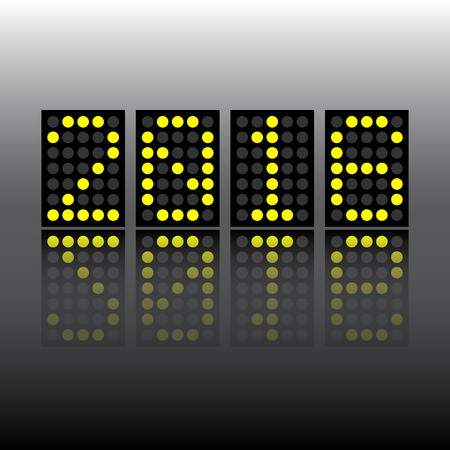 score board: new year 2016 digital score board style with reflection Illustration
