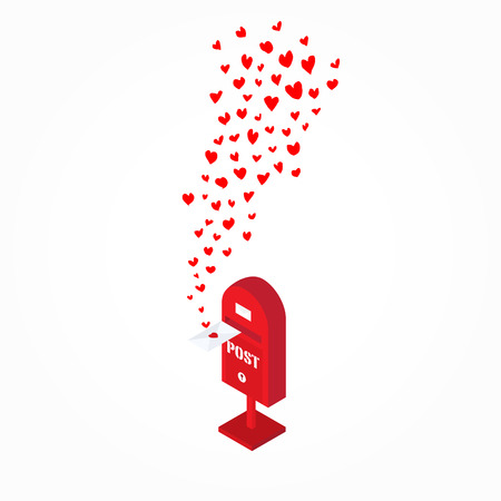 flying float: red handdrawn hearts flying out from postbox on white  background