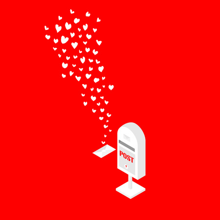 postbox: white handdrawn hearts flying out from postbox on red background