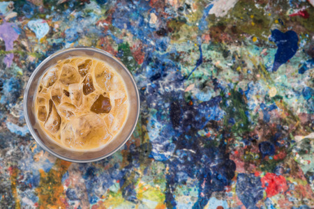vibrant paintbrush: iced coffee on grunge paint poster color background
