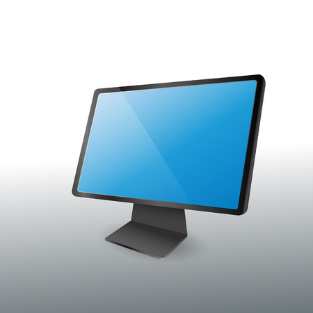 wide: modern desktop computer wide blue screen display -vector