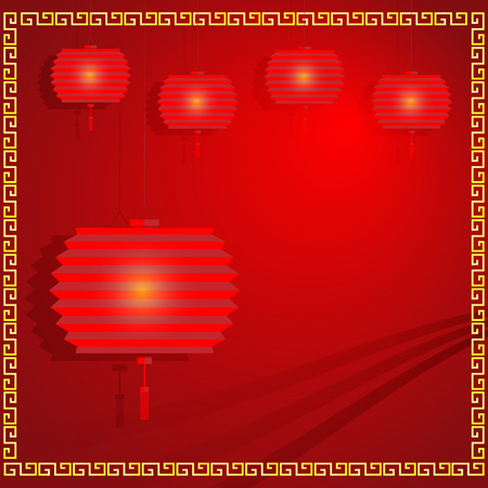 paper lantern: Chinese paper Lantern on red background