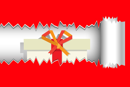 red gift box: gift box inside red torn paper Illustration