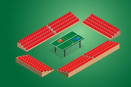 ping pong: de ping-pong tenis de mesa verde con la ilustraci�n del vector de los asientos del estadio