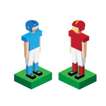 uniforme de futbol: Modelo americano jugador de fútbol Vectores