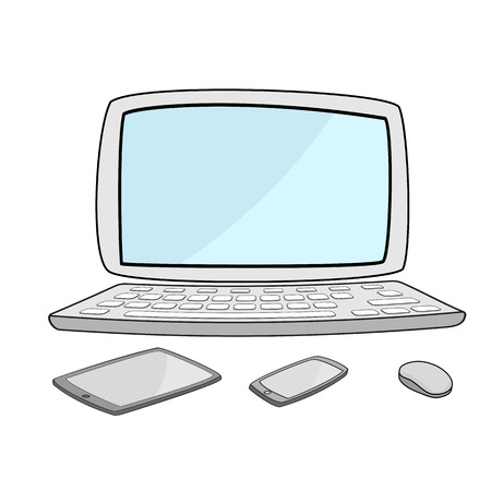technlogy: illustration of  computer notebook with smartphone and tablet Illustration