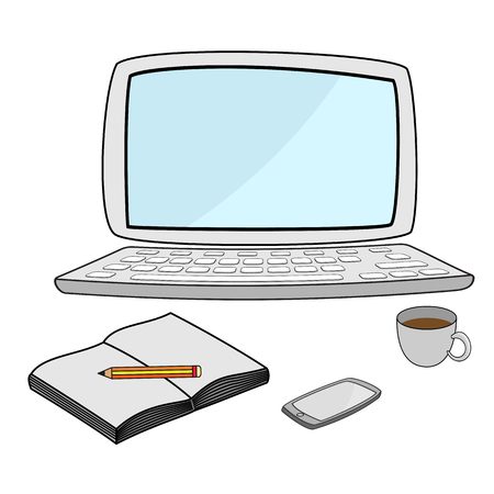 technlogy: illustration of computer notebook with smartphone on desk