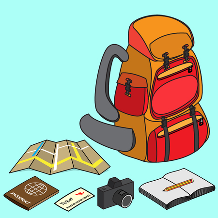 backpacker: backpacker with travelling item