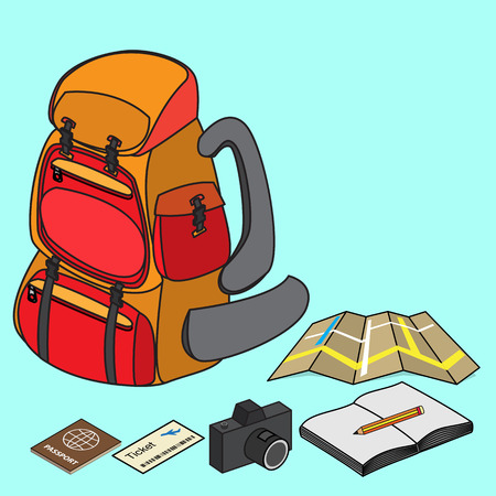 travelling: backpacker with travelling item