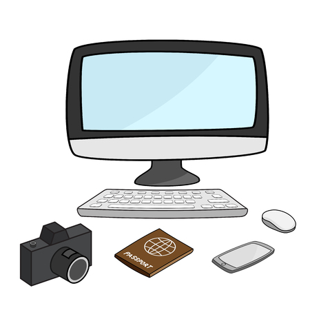 mouse pad: desktop computer with camera, passport, smartphone