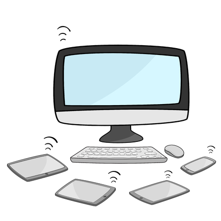 mouse pad: desktop computer with tablet and smartphone Illustration