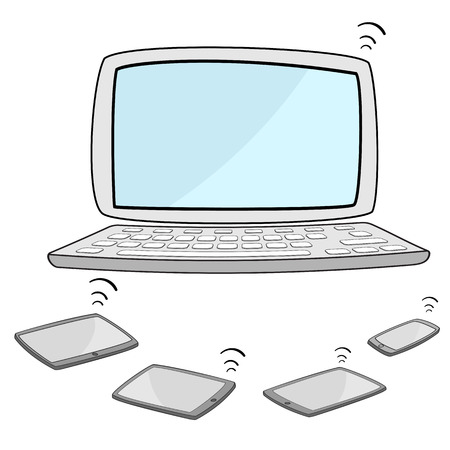 mouse pad: computer notebook with tablet and smartphone