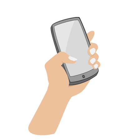 smartphone hand: hand holding smartphone on white background