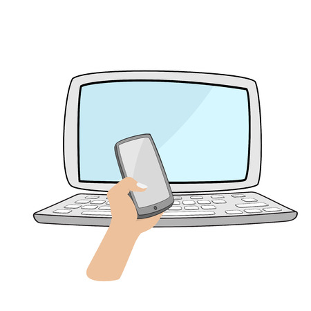 smartphone hand: hand holding smartphone with computer notebook