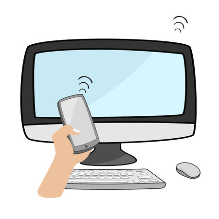 smartphone hand: hand holding smartphone connect with desktop computer