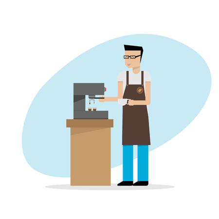 barista: illustration of barista in apron preparing coffee