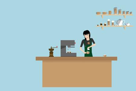 barista: illustration of barista girl in apron preparing coffee