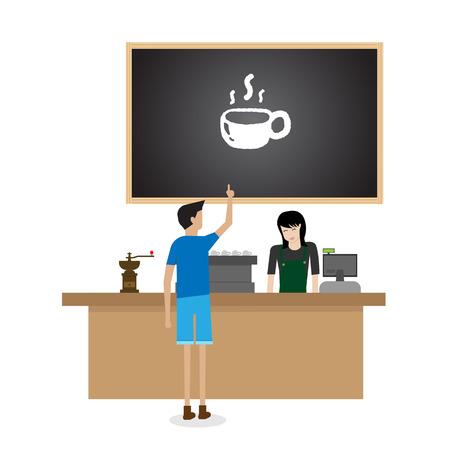 barista: woman barista preparing coffee for customer
