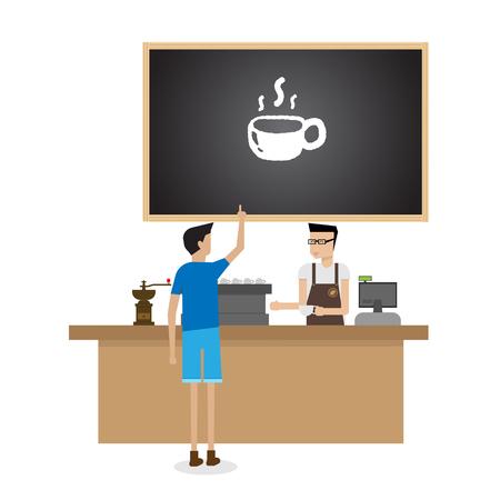 barista: barista preparing coffee for customer Illustration