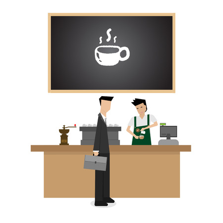 barista: barista preparing coffee for customer Illustration