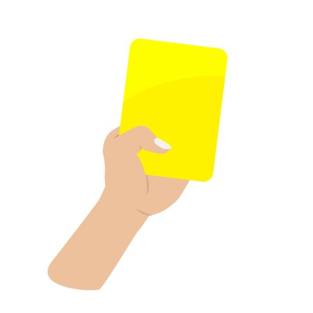 calm down: hand holding yellow card on white background
