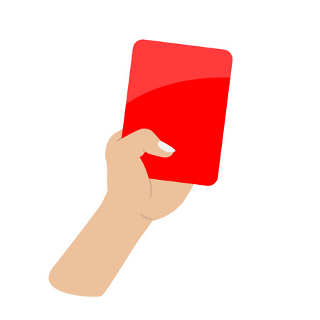 calm down: hand holding red card on white background