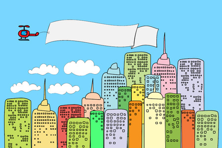 advertisment: illustration of advertisment banner on city skyscraper colorful hand draw stlye Illustration