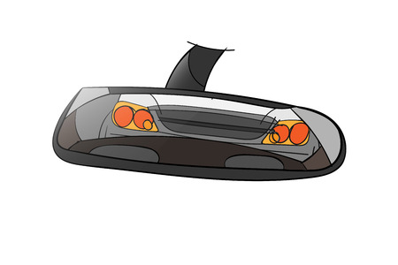 rear view mirror looking at car behind too close Ilustração