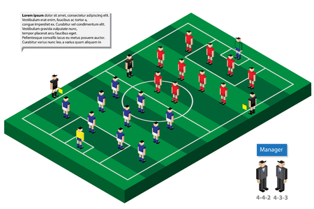 hilight: football team formation model with grass field for infographic