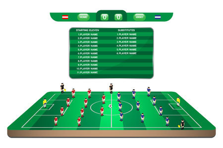 offside: football team formation player in mini soccer field with scoreboard