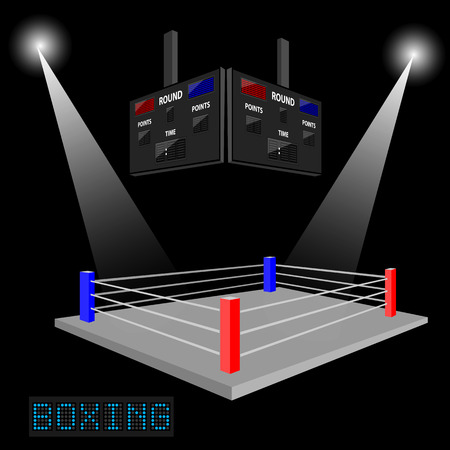 boxing ring: Boxing ring surrounded by spotlight on dark background with scoreboard
