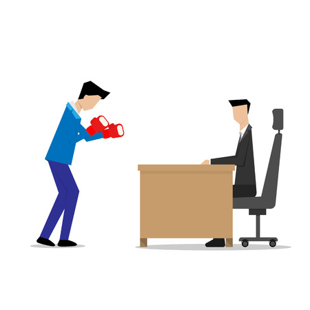 guarding: businessman wear boxing gloves interview concept