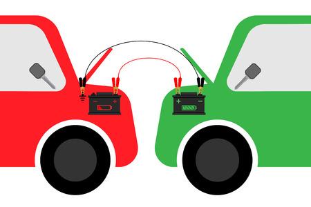 jump start battery car graphic design