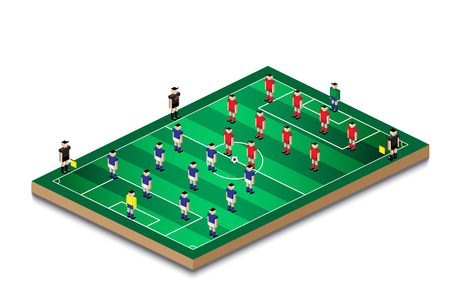 soccer football team formation in mini green field 일러스트