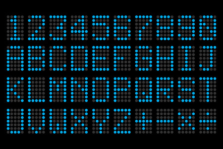display type: digital blue letters and numbers display board for airport schedules, train timetables, scoreboard etc.