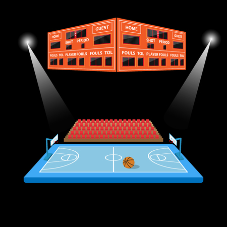arena: basketball arena with scoreboard in black background