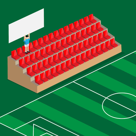 seats: last supporter hold the banner in football stadium red seats Illustration