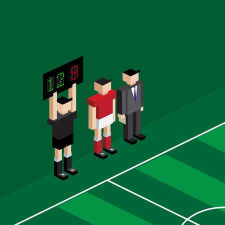 speler en manager wachten voor het veranderen van substitutie-speler