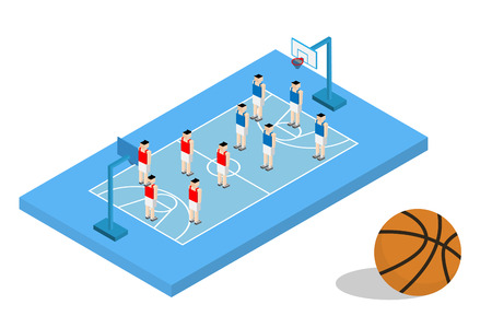 formation: basketball blue field with player formation team
