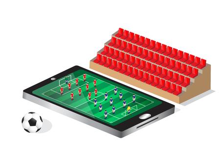 soccer stadium: soccer football match on mobile feeling as watching in stadium Illustration
