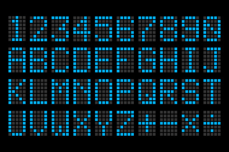 digital blue letters and numbers display board for airport schedules, train timetables, scoreboard etc.