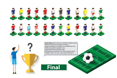 select: man select team player who will win a trophy Illustration