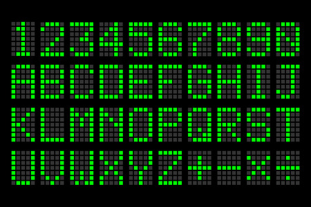 digital green letters and numbers display board for airport schedules, train timetables, scoreboard etc.